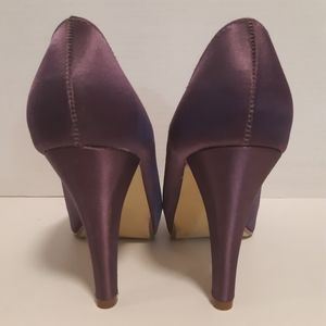 Purple Satin Peep Toe Heels Beautiful Condition